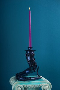 """Adam  Wallacavage -  <strong>Octopus Tentacle Candlestick</strong> (2013<strong style = 'color:#635a27'></strong>)<bR /> epoxy clay, spray paint, eyeshadow pigment,   8 x 8 x 10 inches  (20.32 x 20.32 x 25.4 cm),   (pedestal not included),   Edition of 50,   <span style=""""color: rgb(102, 102, 102); font-family: Avenir, Helvetica, Arial, sans-serif;"""">Please note that all pieces are hand-made and dimensions will vary slightly.</span>"""