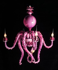 Adam  Wallacavage -  <strong>Pink Paris 4</strong> (2012<strong style = 'color:#635a27'></strong>)<bR /> epoxy clay, lamp parts, epoxy resin and spray paint,   24.5 x 16 inches  (62.23 x 40.64 cm)