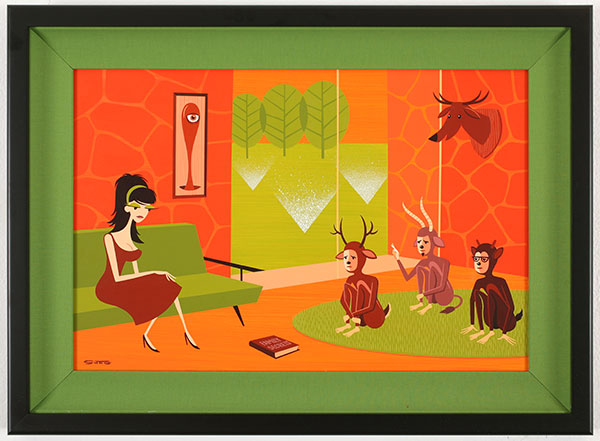 Josh  Agle (Shag) -  <strong>Family Secrets</strong> (2010<strong style = 'color:#635a27'></strong>)<bR /> acrylic on panel,   16 x 24 in. (40.6 x 61 cm)  22 x 30 in. framed