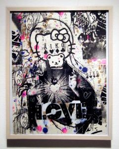 AIKO    -  <strong>Love 1, 2, 3</strong> (2012<strong style = 'color:#635a27'></strong>)<bR /> mixed media on paper,   19 x 15 inches  (48.26 x 38.1 cm),   series of 3