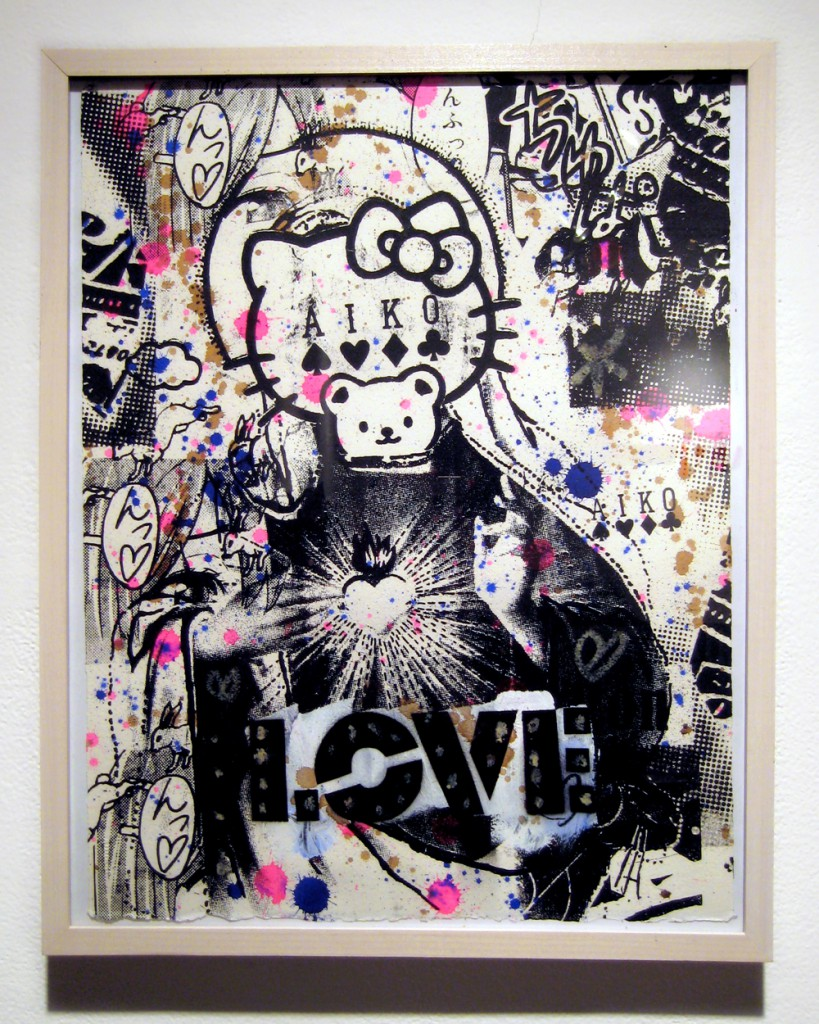 AIKO  &nbsp -  <strong>Love 1, 2, 3</strong> (2012<strong style = 'color:#635a27'></strong>)<bR /> mixed media on paper,   19 x 15 inches  (48.26 x 38.1 cm),   series of 3