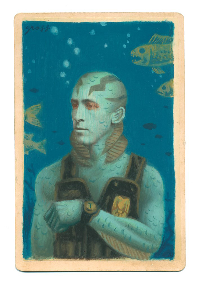 Alex  Gross -  <strong>Abe Sapien</strong> (2014<strong style = 'color:#635a27'></strong>)<bR /> mixed media on antique cabinet card photograph,   4.25 x 6.5 inches  (10.8 x 16.51 cm)  9 x 11 inches, FRAMED