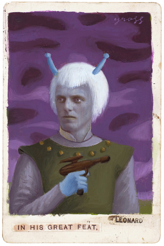 Alex  Gross -  <strong>Andorian</strong> (2010<strong style = 'color:#635a27'></strong>)<bR /> mixed media and oil on antique cabinet photo cards,   6.5 x 4.25 inches (16.51 x 10.79 cm)  11 x 9 inches (27.94 x 22.86), framed