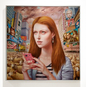 Alex  Gross -  <strong>Android</strong> (2013<strong style = 'color:#635a27'></strong>)<bR /> oil on canvas,   42 x 42 inches  (106.68 x 106.68 cm),   43 x 43 inches, framed