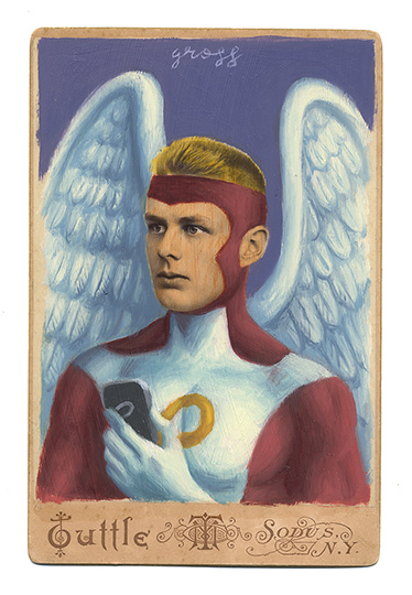 Alex  Gross -  <strong>Angel</strong> (2013<strong style = 'color:#635a27'></strong>)<bR /> mixed media on antique cabinet card photograph  6 1/2 x 4 1/4 inches  16.51 x 10.8 cm  12 x 9 inches, framed