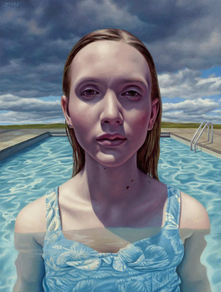 Alex  Gross -  <strong>Approaching Storm</strong> (2014<strong style = 'color:#635a27'></strong>)<bR /> oil on canvas,   21 x 16 inches  (53.34 x 40.64 cm)