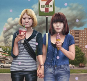 Alex  Gross -  <strong>Best Friends (7-Eleven)</strong> (2011<strong style = 'color:#635a27'></strong>)<bR /> oil on canvas,   34.25 x 31.5 inches  (87 x 80 cm)  framed dimensions TBD