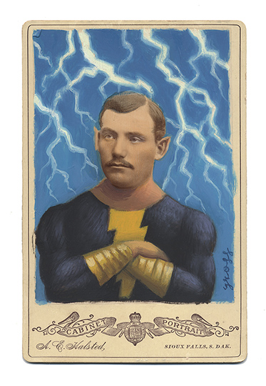 Alex  Gross -  <strong>Black Adam</strong> (2013<strong style = 'color:#635a27'></strong>)<bR /> mixed media on antique cabinet card photograph  6 1/2 x 4 1/4 inches  16.51 x 10.8 cm  12 x 9 inches, framed
