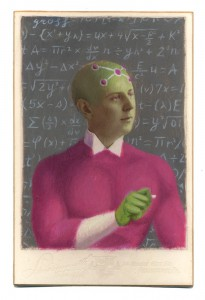 Alex  Gross -  <strong>The Braniac</strong> (2014<strong style = 'color:#635a27'></strong>)<bR /> mixed media on antique cabinet card photograph,   4.25 x 6.5 inches  (10.8 x 16.51 cm)  9 x 11 inches, FRAMED