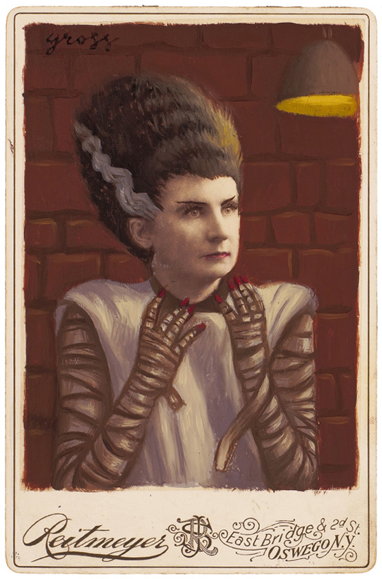 Alex  Gross -  <strong>Bride of Frankenstein</strong> (2010<strong style = 'color:#635a27'></strong>)<bR /> mixed media and oil on antique cabinet photo cards,   6.5 x 4.25 inches (16.51 x 10.79 cm)  11 x 9 inches (27.94 x 22.86), framed