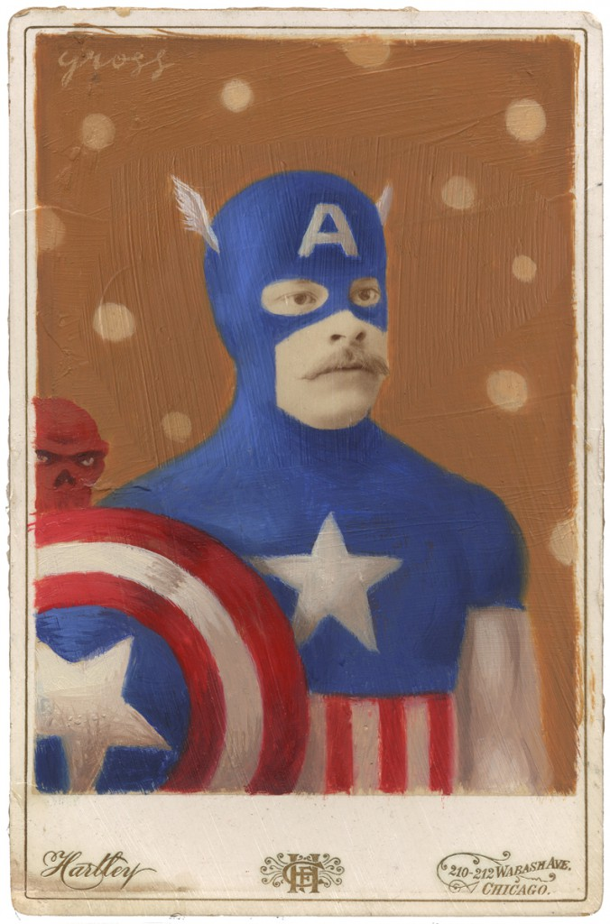 Alex  Gross -  <strong>Captain America</strong> (2010<strong style = 'color:#635a27'></strong>)<bR /> oil and mixed media on antique cabinet card,   6.5 x 4.25 inches (16.51 x 10.79 cm)  11 x 9 x 1.375 inches, framed