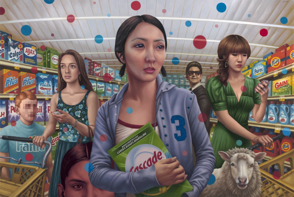 Alex  Gross -  <strong>Cascade</strong> (2011<strong style = 'color:#635a27'></strong>)<bR /> oil on canvas,   51.75 x 77 inches  (131.45 x 195.58 cm)