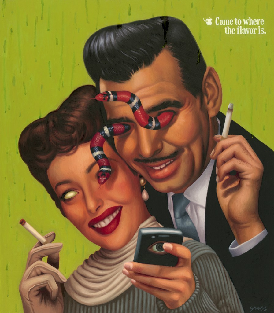 Alex  Gross -  <strong>Come to where the flavor is.</strong> (2010<strong style = 'color:#635a27'></strong>)<bR /> oil on panel,   20.5 x 18 inches (52.07 x 45.72 cm)  27.25 x 24.375 x 1.75 inches, framed
