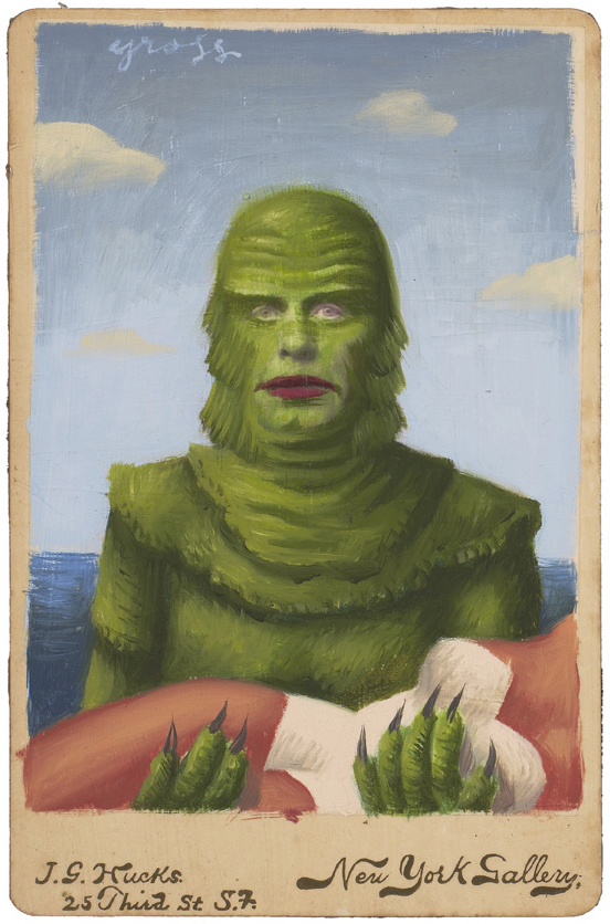 Alex  Gross -  <strong>Creature</strong> (2010<strong style = 'color:#635a27'></strong>)<bR /> mixed media and oil on antique cabinet photo cards,   6.5 x 4.25 inches (16.51 x 10.79 cm)  11 x 9 inches (27.94 x 22.86), framed