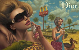 Alex  Gross -  <strong>Dior</strong> (2011<strong style = 'color:#635a27'></strong>)<bR /> oil on canvas,   40 x 63 inches  (101.6 x 160 cm)  framed dimensions TBD