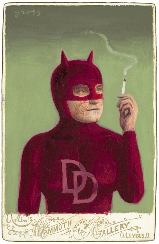 Alex  Gross -  <strong>Daredevil</strong> (2010<strong style = 'color:#635a27'></strong>)<bR /> mixed media and oil on antique cabinet photo cards,   6.5 x 4.25 inches (16.51 x 10.79 cm)  11 x 9 inches (27.94 x 22.86), framed