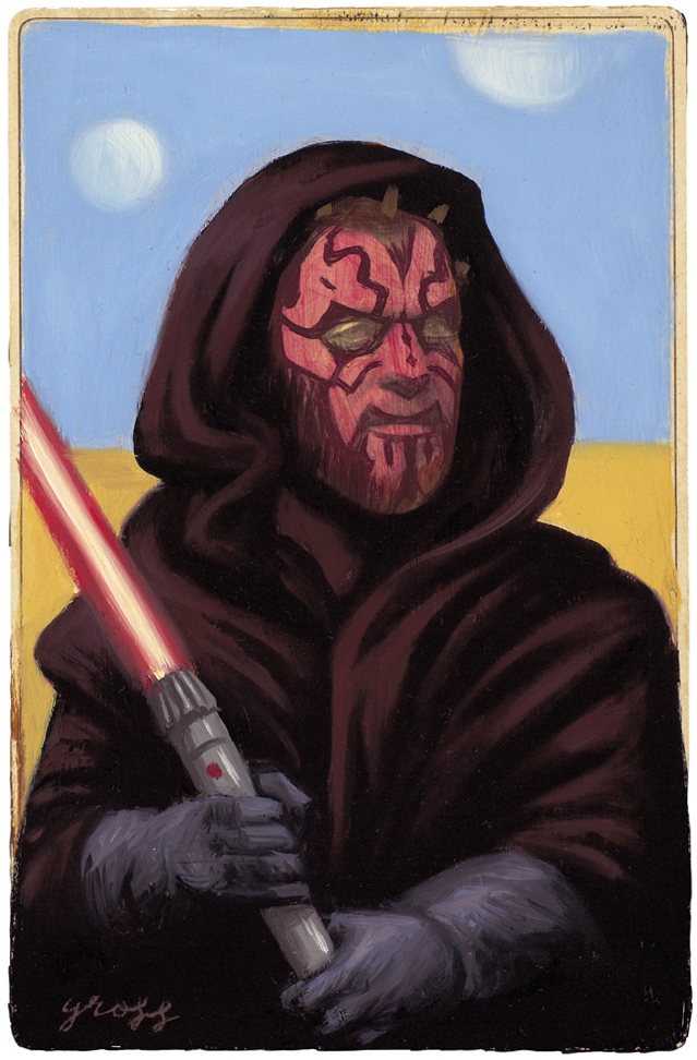 Alex  Gross -  <strong>Darth Maul</strong> (2010<strong style = 'color:#635a27'></strong>)<bR /> mixed media and oil on antique cabinet photo cards,   6.5 x 4.25 inches (16.51 x 10.79 cm)  11 x 9 inches (27.94 x 22.86), framed