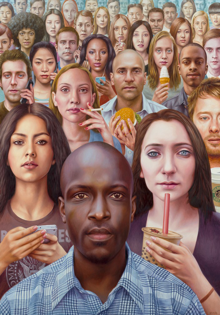 Alex  Gross -  <strong>Distractions</strong> (2014<strong style = 'color:#635a27'></strong>)<bR /> oil on canvas,   60 x 42 inches  (152.40 x 106.68 cm)