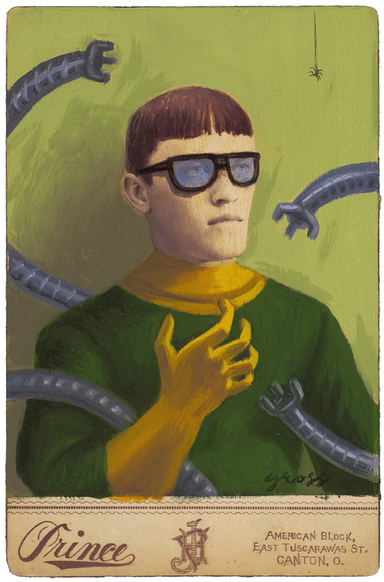 Alex  Gross -  <strong>Doctor Octopus</strong> (2010<strong style = 'color:#635a27'></strong>)<bR /> mixed media and oil on antique cabinet photo cards,   6.5 x 4.25 inches (16.51 x 10.79 cm)  11 x 9 inches (27.94 x 22.86), framed