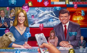 Alex  Gross -  <strong>Drones</strong> (2014<strong style = 'color:#635a27'></strong>)<bR /> oil on canvas,   53 x 88 inches  (134.62 x 223.52 cm)