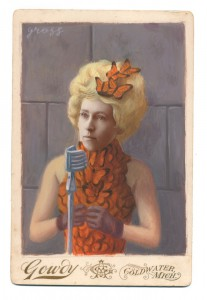 Alex  Gross -  <strong>Effie Trinket</strong> (2014<strong style = 'color:#635a27'></strong>)<bR /> mixed media on antique cabinet card photograph,   4.25 x 6.5 inches  (10.8 x 16.51 cm)  9 x 11 inches, FRAMED,   Please contact gallery for availability