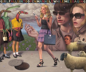 Alex  Gross -  <strong>Egoist</strong> (2011<strong style = 'color:#635a27'></strong>)<bR /> oil on canvas,   48 x 58 inches  (121.92 x 147.32 cm)  framed dimensions TBD