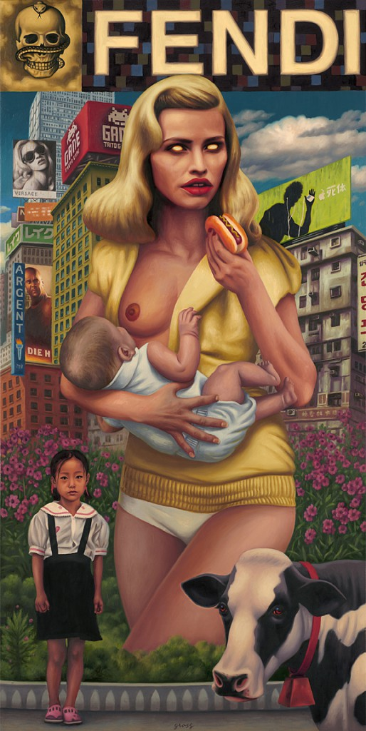 Alex  Gross -  <strong>Fendi</strong> (2011<strong style = 'color:#635a27'></strong>)<bR /> oil on panel,   44 x 22 inches  (111.76 x 55.88 cm)  framed dimensions TBD