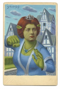 Alex  Gross -  <strong>Fiona</strong> (2013<strong style = 'color:#635a27'></strong>)<bR /> mixed media on antique cabinet card photograph  6 1/2 x 4 1/4 inches  16.51 x 10.8 cm  12 x 9 inches, framed