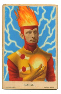 Alex  Gross -  <strong>Firestorm</strong> (2014<strong style = 'color:#635a27'></strong>)<bR /> mixed media on antique cabinet card photograph,   4.25 x 6.5 inches  (10.8 x 16.51 cm)  9 x 11 inches, FRAMED