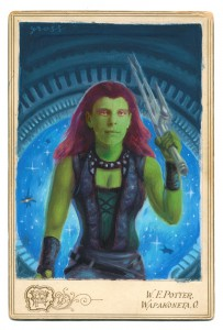 Alex  Gross -  <strong>Gamora (Ada Gross)</strong> (2014<strong style = 'color:#635a27'></strong>)<bR /> mixed media on antique cabinet card photograph,   4.25 x 6.5 inches  (10.8 x 16.51 cm)  9 x 11 inches, FRAMED,   Please contact gallery for availability