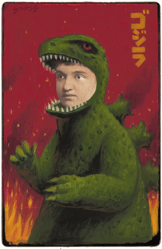 Alex  Gross -  <strong>Godzilla</strong> (2010<strong style = 'color:#635a27'></strong>)<bR /> mixed media and oil on antique cabinet photo cards,   6.5 x 4.25 inches (16.51 x 10.79 cm)  11 x 9 inches (27.94 x 22.86), framed