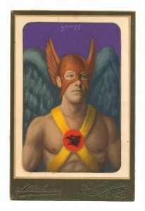 Alex  Gross -  <strong>Hawkman</strong> (2014<strong style = 'color:#635a27'></strong>)<bR /> mixed media on antique cabinet card photograph,   4.25 x 6.5 inches  (10.8 x 16.51 cm)  9 x 11 inches, FRAMED