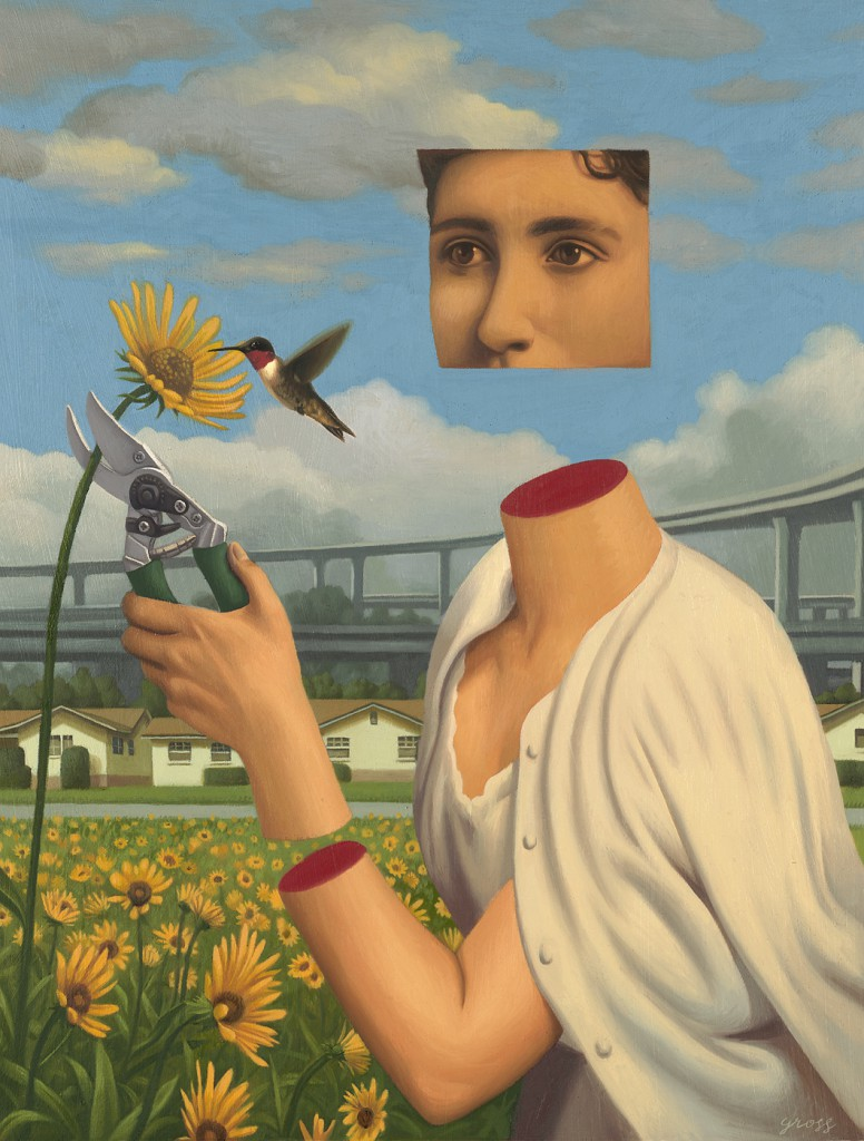 Alex  Gross -  <strong>Hummingbird</strong> (2010<strong style = 'color:#635a27'></strong>)<bR /> oil on panel,   23.5 x 18 inches (59.69 x 45.72 cm)  34.75 x 29 x 2 inches, framed