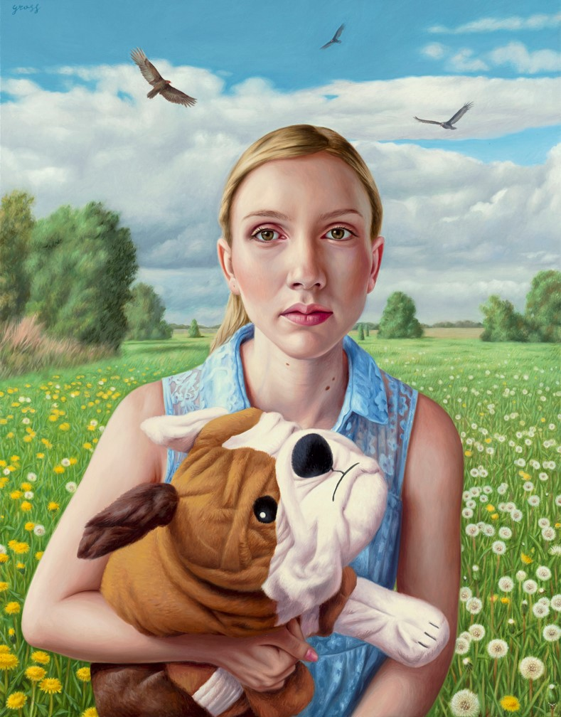 Alex  Gross -  <strong>Impermanence</strong> (2014<strong style = 'color:#635a27'></strong>)<bR /> oil on canvas,   32 x 25 inches  (81.28 x 63.50 cm)