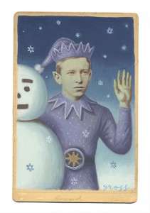 Alex  Gross -  <strong>Jack Frost</strong> (2013<strong style = 'color:#635a27'></strong>)<bR /> mixed media on antique cabinet card photograph  6 1/2 x 4 1/4 inches  16.51 x 10.8 cm  12 x 9 inches, framed