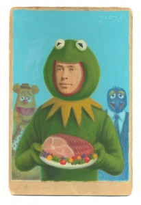 Alex  Gross -  <strong>Kermit and Piggy</strong> (2014<strong style = 'color:#635a27'></strong>)<bR /> mixed media on antique cabinet card photograph,   4.25 x 6.5 inches  (10.8 x 16.51 cm)  9 x 11 inches, FRAMED,   Please contact gallery for availability