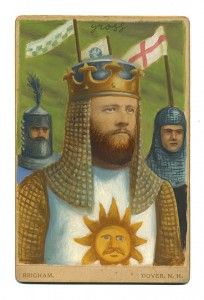Alex  Gross -  <strong>King Arthur</strong> (2013<strong style = 'color:#635a27'></strong>)<bR /> mixed media on antique cabinet card photograph  6 1/2 x 4 1/4 inches  16.51 x 10.8 cm  12 x 9 inches, framed