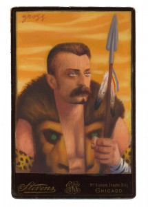 Alex  Gross -  <strong>Kraven the Hunter</strong> (2014<strong style = 'color:#635a27'></strong>)<bR /> mixed media on antique cabinet card photograph,   4.25 x 6.5 inches  (10.8 x 16.51 cm)  9 x 11 inches, FRAMED,   Please contact gallery for availability