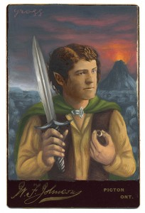 Alex  Gross -  <strong>Frodo</strong> (2013<strong style = 'color:#635a27'></strong>)<bR /> mixed media on antique cabinet card photograph  6 1/2 x 4 1/4 inches  16.51 x 10.8 cm  12 x 9 inches, framed