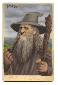 Alex  Gross -  <strong>Gandalf</strong> (2013<strong style = 'color:#635a27'></strong>)<bR /> mixed media on antique cabinet card photograph  6 1/2 x 4 1/4 inches  16.51 x 10.8 cm  12 x 9 inches, framed