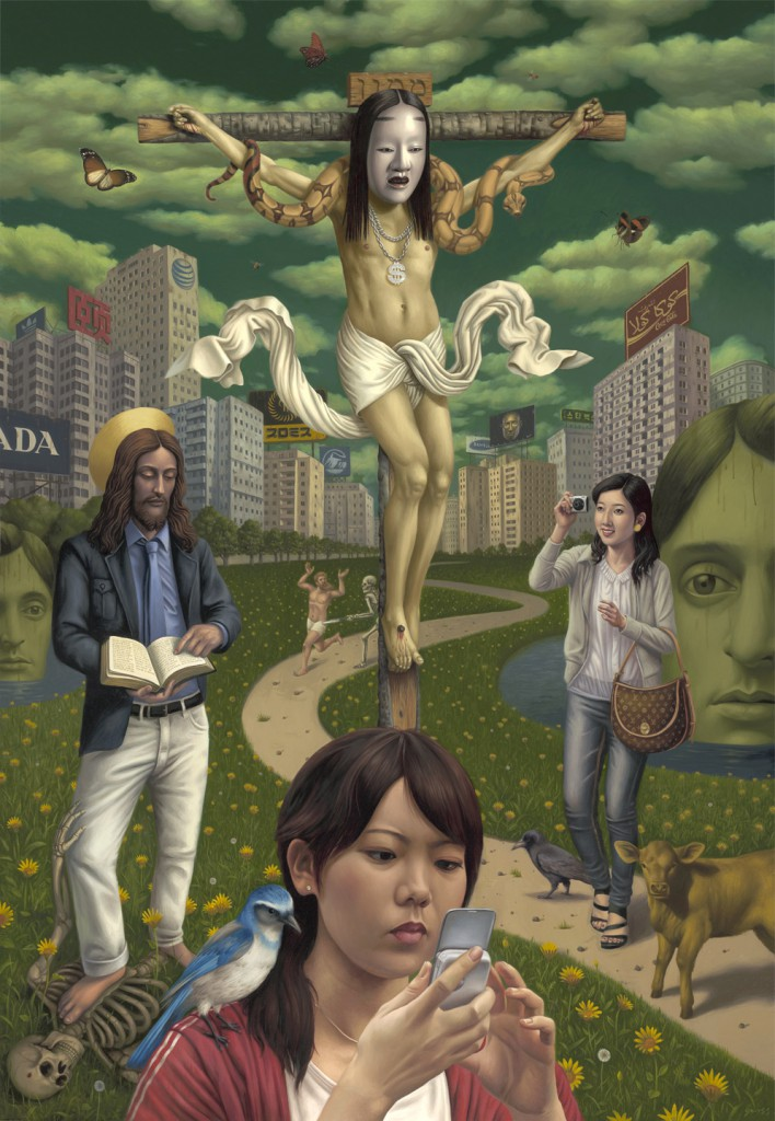Alex  Gross -  <strong>Mammon</strong> (2010<strong style = 'color:#635a27'></strong>)<bR /> oil on canvas,   78 x 54 inches (198.12 x 137.16 cm)  85 x 61 x 3.125 inches, framed