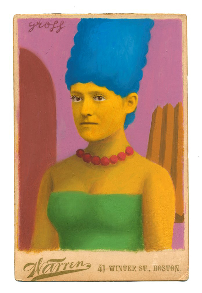Alex  Gross -  <strong>Marge</strong> (2014<strong style = 'color:#635a27'></strong>)<bR /> mixed media on antique cabinet card photograph,   4.25 x 6.5 inches  (10.8 x 16.51 cm)  9 x 11 inches, FRAMED,   Please contact gallery for availability