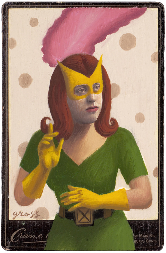 Alex  Gross -  <strong>Marvel Girl</strong> (2010<strong style = 'color:#635a27'></strong>)<bR /> mixed media and oil on antique cabinet photo cards,   6.5 x 4.25 inches (16.51 x 10.79 cm)  11 x 9 inches (27.94 x 22.86), framed