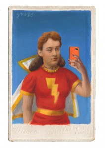 Alex  Gross -  <strong>Mary Marvel Selfie</strong> (2014<strong style = 'color:#635a27'></strong>)<bR /> mixed media on antique cabinet card photograph,   4.25 x 6.5 inches  (10.8 x 16.51 cm)  9 x 11 inches, FRAMED