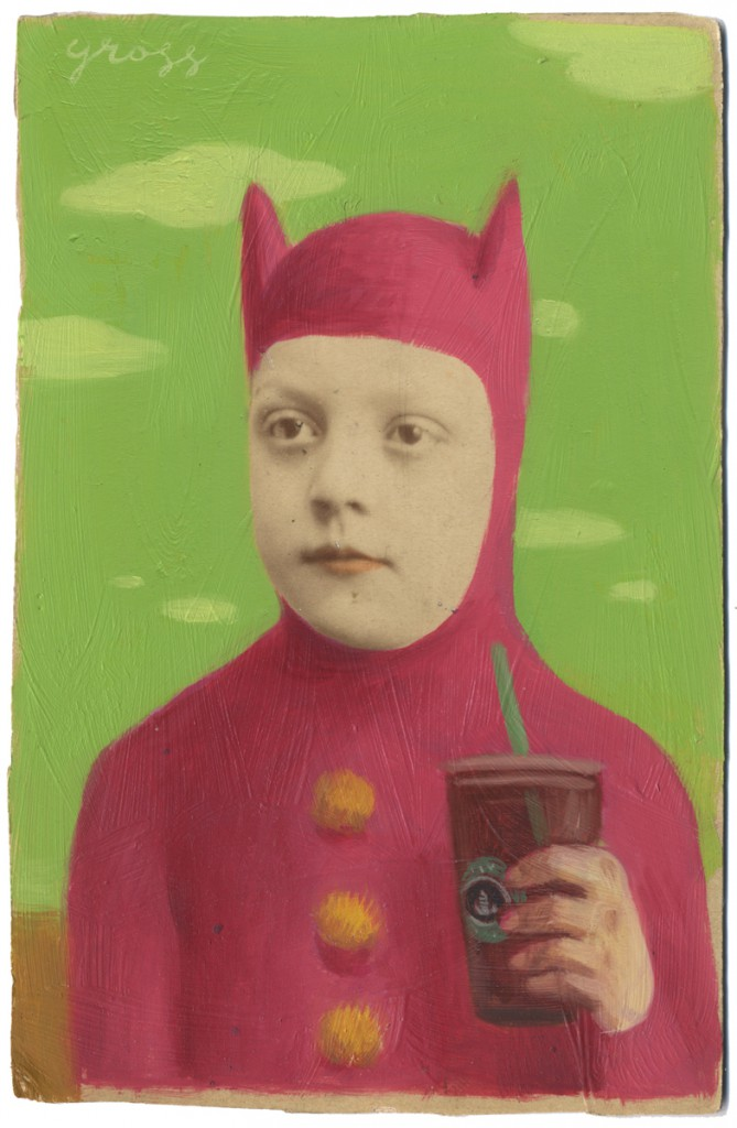 Alex  Gross -  <strong>Max</strong> (2010<strong style = 'color:#635a27'></strong>)<bR /> oil and mixed media on antique cabinet card,   6.5 x 4.25 inches (16.51 x 10.79 cm)  11 x 9 x 1.375 inches, framed
