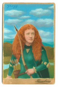 Alex  Gross -  <strong>Merida (Netta May Whyte)</strong> (2014<strong style = 'color:#635a27'></strong>)<bR /> mixed media on antique cabinet card photograph,   4.25 x 6.5 inches  (10.8 x 16.51 cm)  9 x 11 inches, FRAMED,   Please contact gallery availability