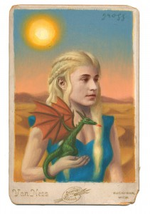 Alex  Gross -  <strong>Mother of Dragons</strong> (2014<strong style = 'color:#635a27'></strong>)<bR /> mixed media on antique cabinet card photograph,   4.25 x 6.5 inches  (10.8 x 16.51 cm)  9 x 11 inches, FRAMED,   Please contact gallery for availability
