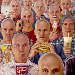 Alex  Gross -  <strong>Narcissism</strong> (2014<strong style = 'color:#635a27'></strong>)<bR /> oil on canvas,   28 x 28 inches  (71.12 x 71.12 cm)