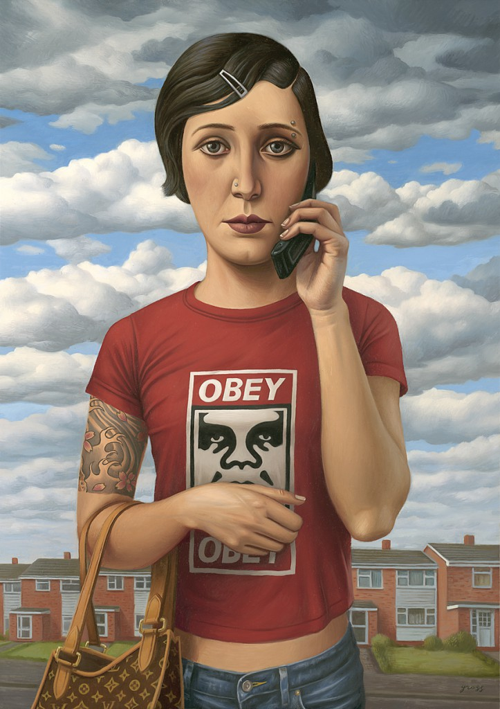 Alex  Gross -  <strong>Obedience</strong> (2010<strong style = 'color:#635a27'></strong>)<bR /> oil on canvas,   30 x 21.25 inches (76.2 x 53.97 cm)  35.75 x 26.875 x 3 inches, framed