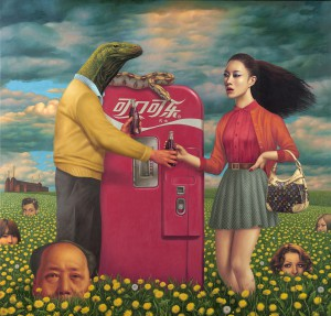 Alex  Gross -  <strong>Original Sin</strong> (2011<strong style = 'color:#635a27'></strong>)<bR /> oil on canvas,   54 x 56 inches  (137.16 x 142.24 cm)  framed dimensions TBD